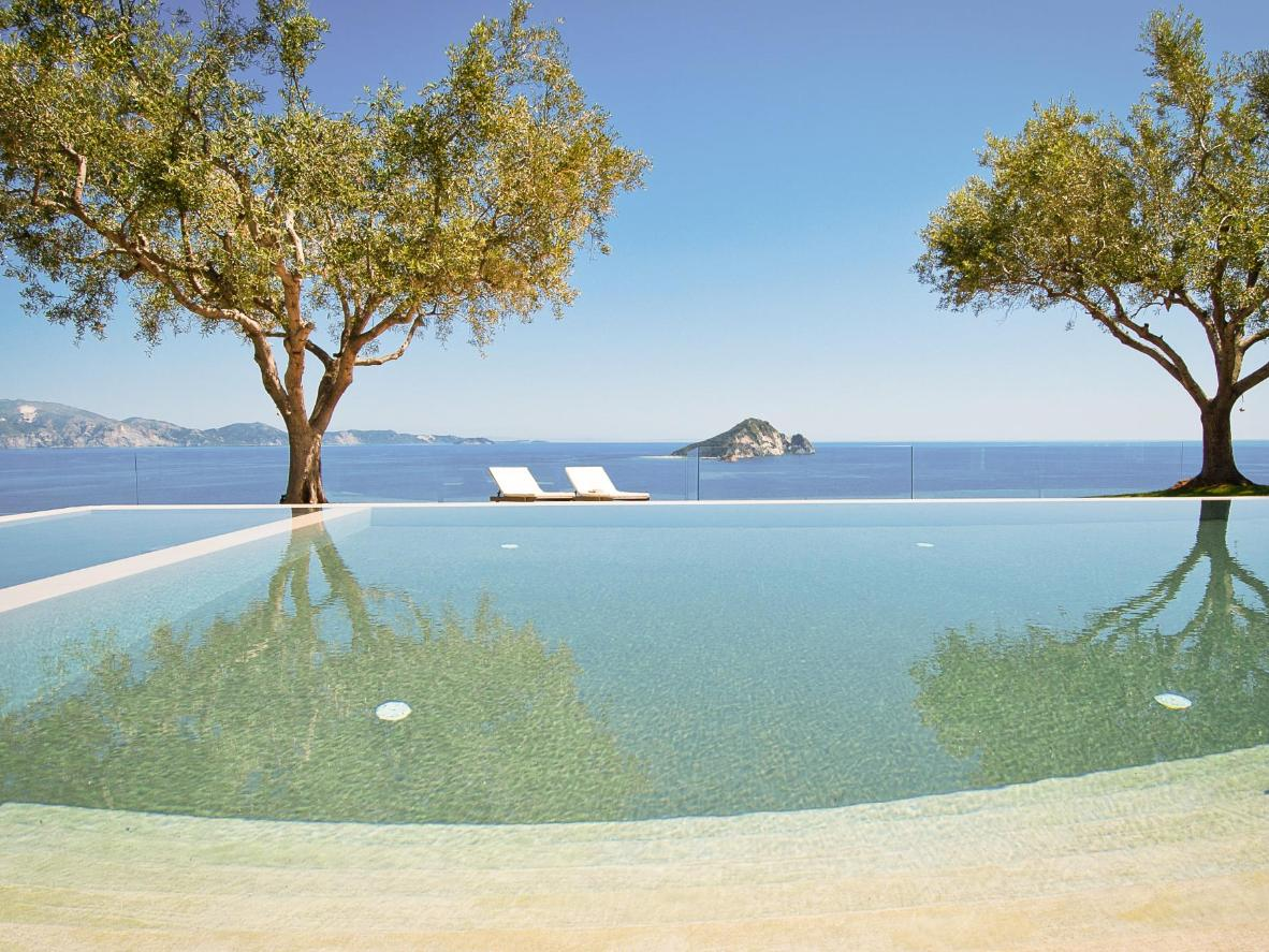 A private, island oasis in the form of an infinity pool facing the Ionian Sea